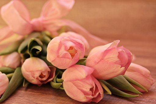 Bos roze tulpen
